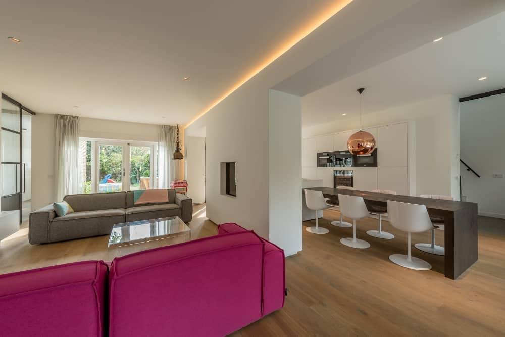 XXL ontwerp interieur Stan van den Wildenberg woonkamer woonkeuken doorkijkhaard
