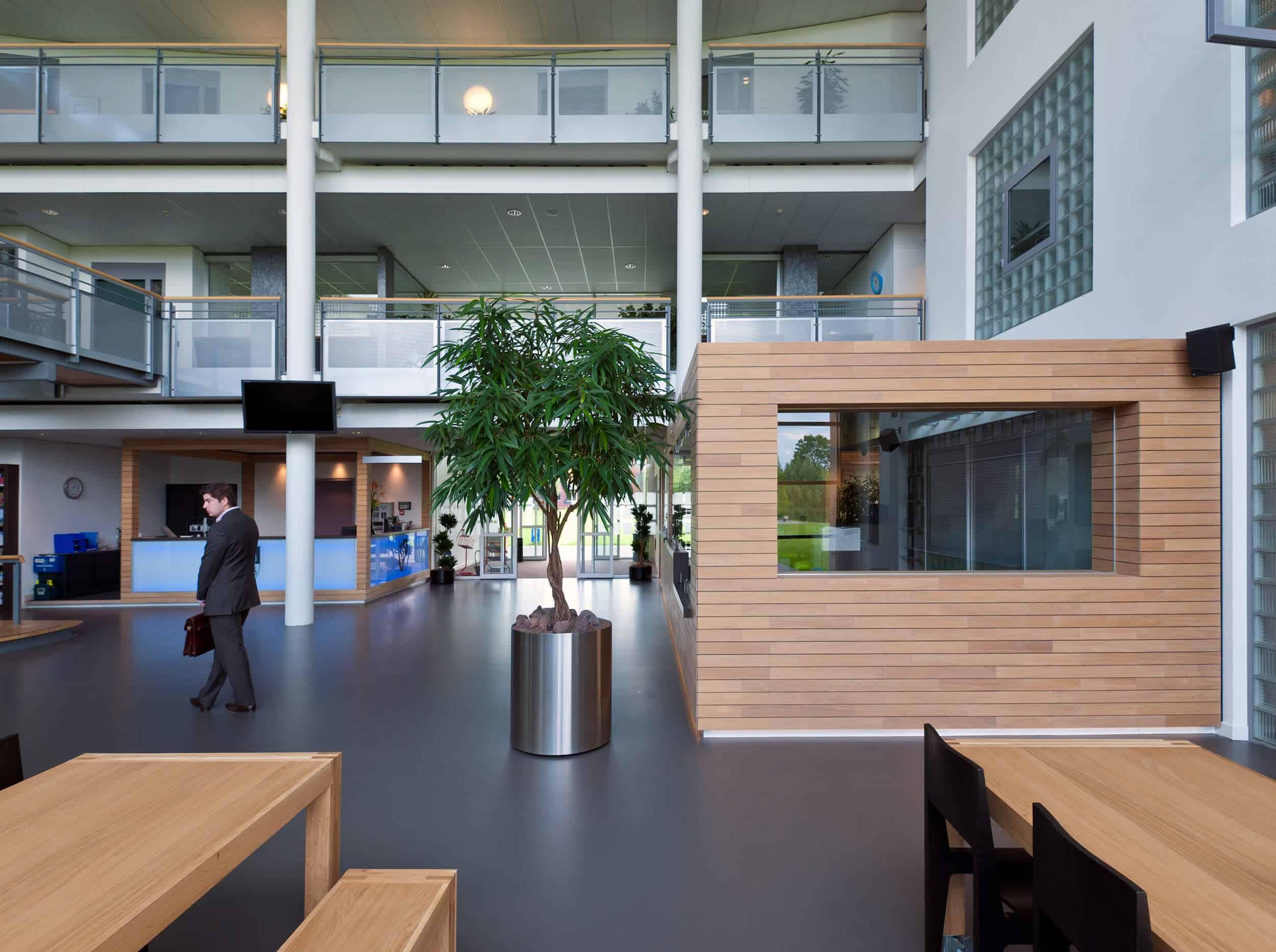 Interieurontwerp met hout strakke vloer grijs en glas