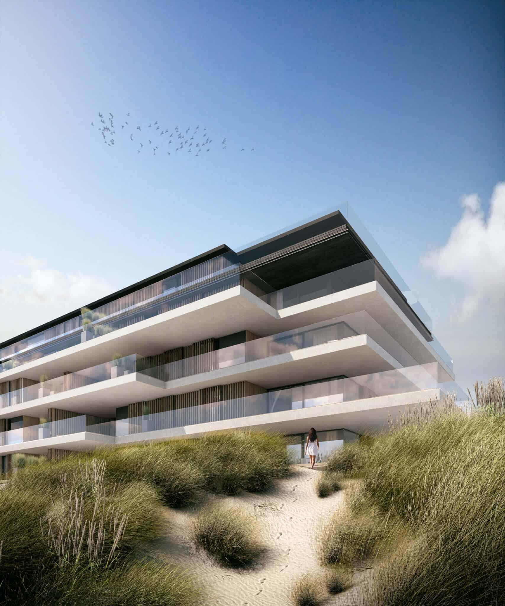 interieurarchitect Stan van den Wildenberg ontwerpt appartement in Blanke Top van Groep Versluys in Cadzand aanzicht hoek vanaf strand van architect Govaert & Vanhoutte