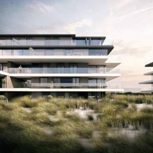 interieurarchitect Stan van den Wildenberg ontwerpt appartement in Blanke Top van Groep Versluys in Cadzand frontaal aanzicht van architect Govaert & Vanhoutte