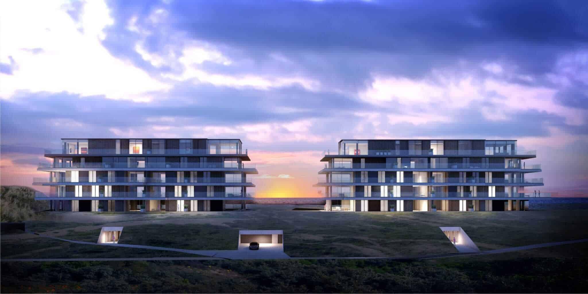 interieurarchitect Stan van den Wildenberg ontwerpt appartement in Blanke Top van Groep Versluys in Cadzand frontaal aanzicht van architect Govaert & Vanhoutte.BRON imagicasa.be jpg