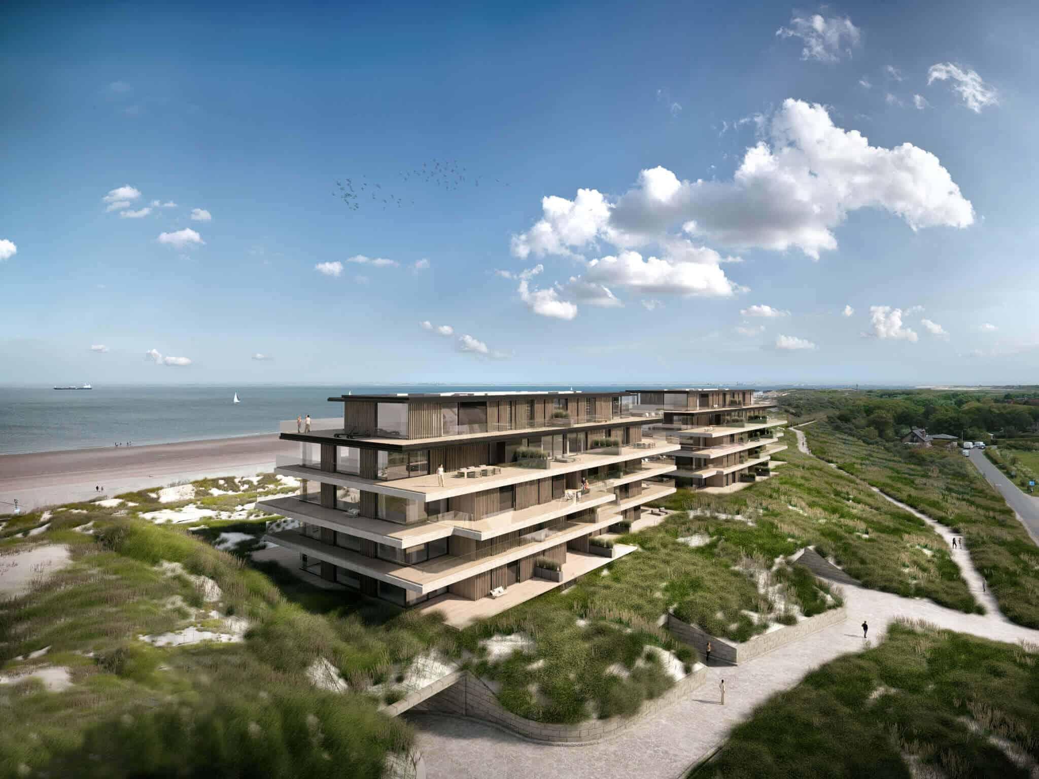 """interieurarchitect Stan van den Wildenberg ontwerpt appartement in """"Blanke Top"""" van Groep Versluys in Cadzand vanuit de lucht van architect Govaert & Vanhoutte"""