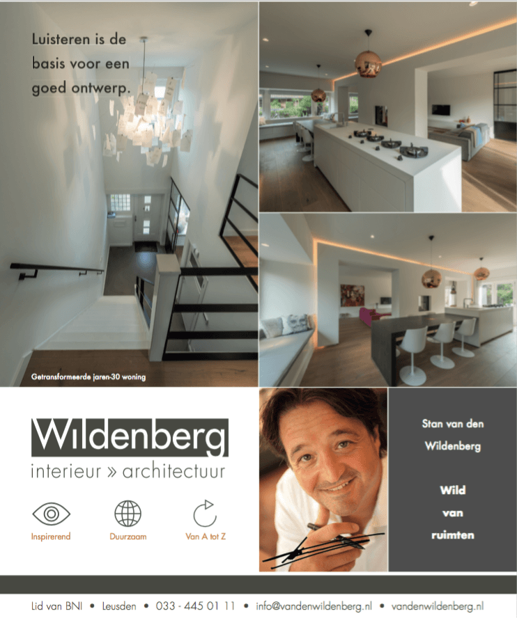 interieurarchitect Stan van den Wildenberg in een advertentie in Financiël Dagblad Persoonlijk ( FD ) door Dennis Stenacker Endure Design april 2017