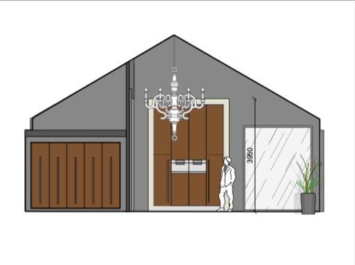 interieurarchitect Stan van den Wildenberg ontwerpt aanzicht interieur voor loft appartement met keuken eiland met indirecte verlichting