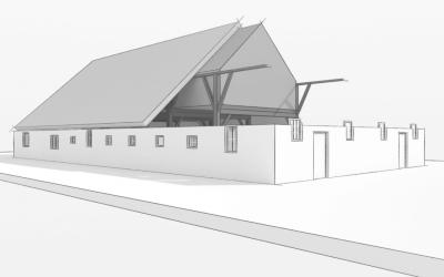 binnenhuisarchitect ontwerpt interierieur woonboerderij met rieten kap buitenkant render png