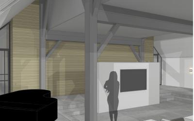 binnenhuisarchitect ontwerpt interierieur woonboerderij met rieten kap woonkamer met piano render png