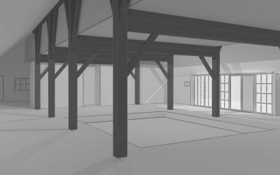 binnenhuisarchitect ontwerpt interierieur woonboerderij met rieten kap woonkamer render